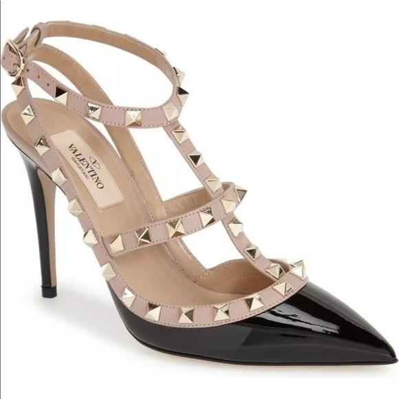 Valentino Rockstud Heels Black Patent 4